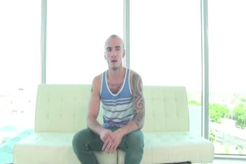 GayCastings Tatted Muscle wang On web camera