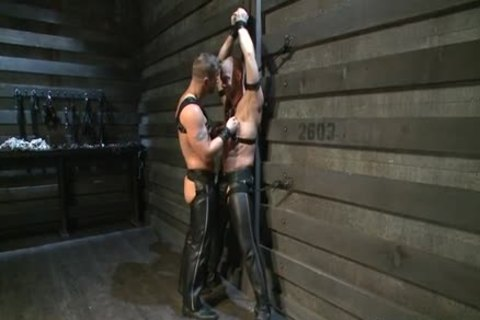 Hung White dude In Leather receives Off homosexual chap