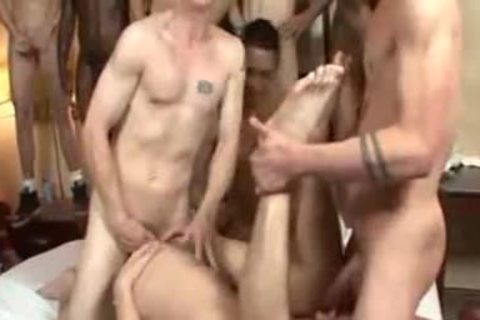concupiscent homosexual boys plowing In gangbang