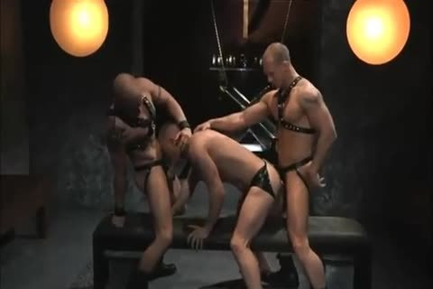 Leather Hunk Blindfold Gagged