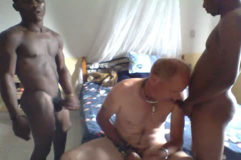 2 Africans On One White suck And fuck
