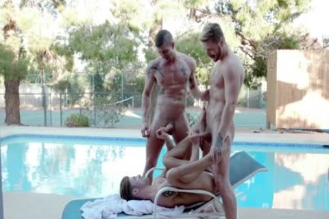 large ramrod homo three-some And cumshot