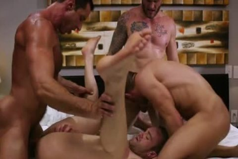 large pecker Son Foursome With cumshot