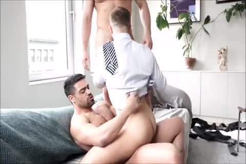 Three curly Suited Muscle males bare And Breed