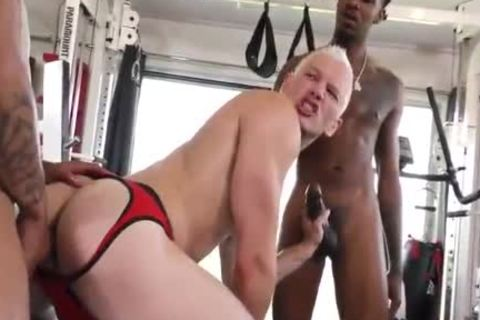 1 stunning Blond Vs two Hungry black males