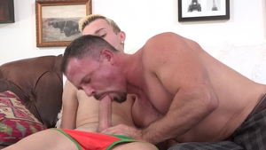 Family Dick: Neighbor Ryan Evans jerking penis in the bed