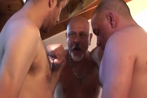 trio Of old And A youthful To cum On His Face