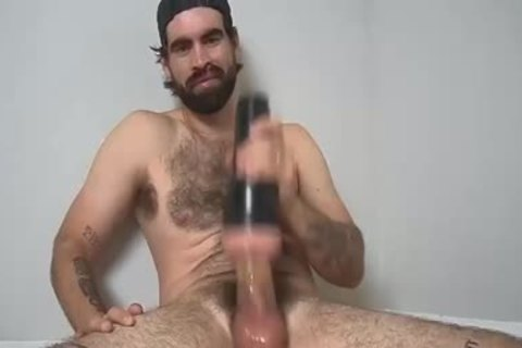 bushy guy stroking With A Fleshlight