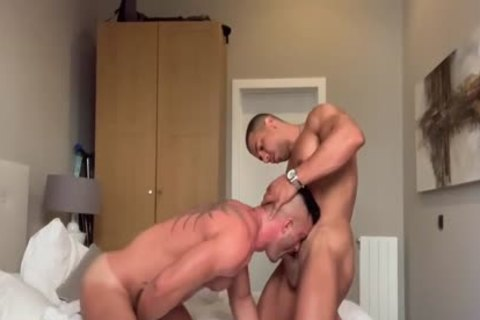 Three Muscle dudes plowing delicious